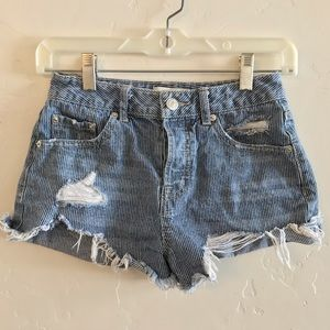 Forever 21 Blue Striped Distressed Jean Shorts 24
